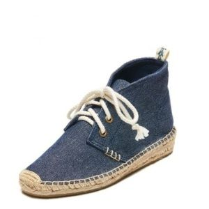 SOLUDOS DEMI WEDGE DESERT CANVAS BOOTIE IN NAVY